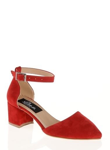 Derigo Derigo 7098 Kalın Topuk Süet Suni Deri Kadın Sandalet Kırmızı